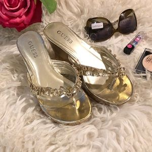 Guess metallic gold wedge heel